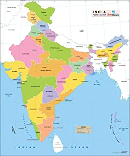 India Political Map 27 5 W X 32 H Amazon In Maps Of India Books