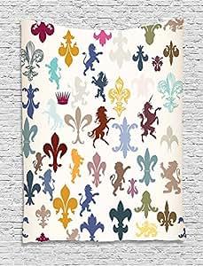 Fleur De Lis Decor Collection Pattern With Lions Horses