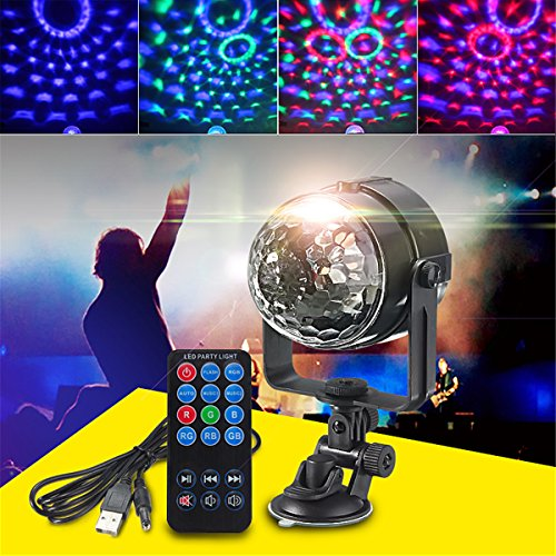 JIGUOOR Mini 7 Farbe RGB LED Stage Light Lichteffekte 3W mit Fernbedienung Light Disco Ball Lights LED Party Lamp Show Powered DV 5V Party Favors Supplies Dj Dance Stage Lights with USB for Toys Gift (Living Mini Beach)