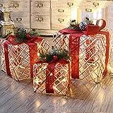 Gaddrt Christmas Weihnachten Weihnachtsleuchtende Geschenkbox-Ausgangsdekoration-Satz im Freien von 3 glühendem Paket