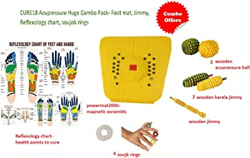 Cure18 Huge Combo Pack of 11 Item| 1 Magnetic Powermat| Two Acupressure Wooden Ball| Two Wooden Karela Jimmy| One Wooden Jimmy| Four Sujok Rings | Reflexology chart of feet and hands