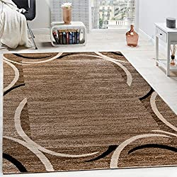Paco Home Living Room Rug Designer Border Flecked Brown Black Cream Unbeatable Deal, Size:160x220 cm