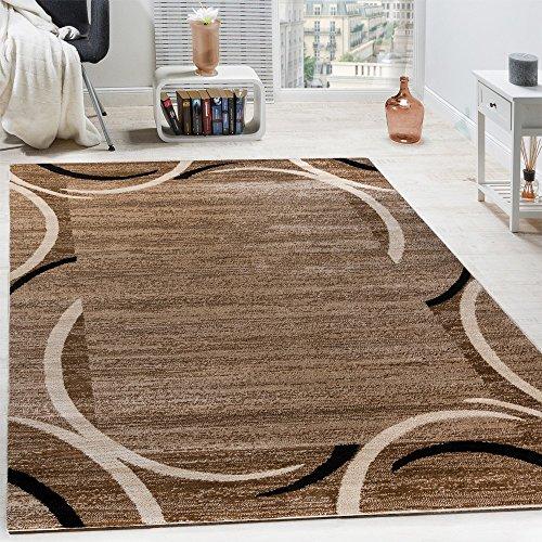 Paco Home Wohnzimmer Teppich Bordüre Kurzflor Meliert Modern Hochwertig Schwarz Braun, Grösse:160x220 cm