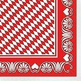 Sovie HORECA Oktoberfest-Deko Serviette | Bavaria Raute | 40x40 cm 100 STK Tissue | Wiesn Festzelt Bayrisch Gastronomie (Rot)