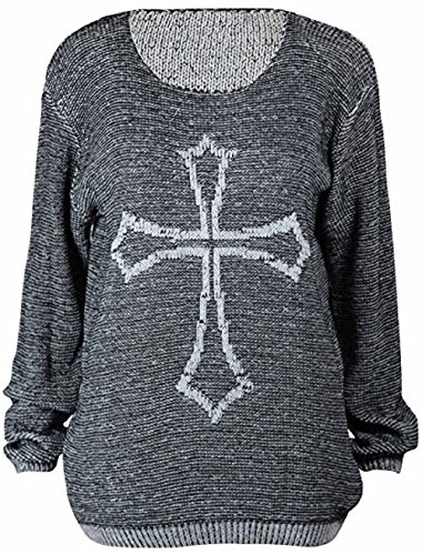 Women Ladies Knitted Scary Halloween Gothic Print Jumper (Lady Halloween Scary Kostüme)