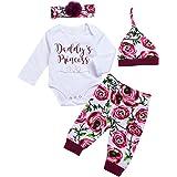 Ropa Bebe Niña Otoño Primavera Impresión Flor Rosa Romer de Manga Larga + Floral Pantalones + Sombrero + Venda de Pelo 0-18 M