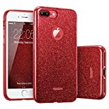 ESR Coque pour iPhone 7 Plus Rouge, Coque Silicone Paillette Strass Brillante Bling...