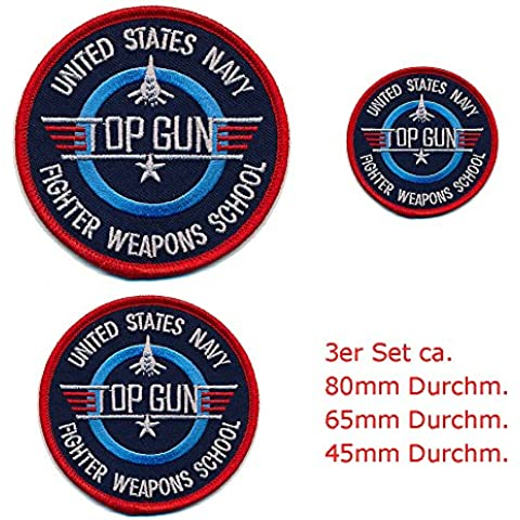 3 Top Gun Navy Fighter Weapons School embleme Patches Aufbügler toppa