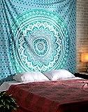 Indisch Mandala Wandteppich Hippie Wandbehang Baumwolle Tapisserie Tapestry Von Rajrang (Turquoise Grün)