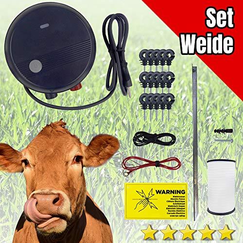 TMS Pro Shop Weidezaun Komplett-Set für Nutztiere, 200 Meter Litze Weiß, 50 Stück Ringisolator, Erdungsstab, geeignet für Pferde, Rinder, Schafe