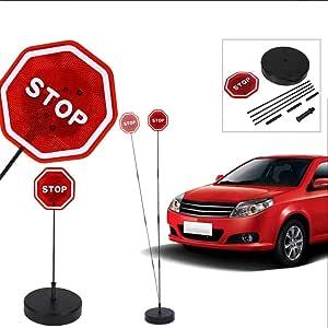 Dbkw Led Stoppschild Einparkhilfe Mit Erschütterungssensor Parksensor Parkassistent Auto