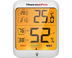 ThermoPro TP53 Hygrometer Digital Indoor Room Lab Greenhouse Thermometer Temperature Humidity Monitor Gauge Indicator for Nur