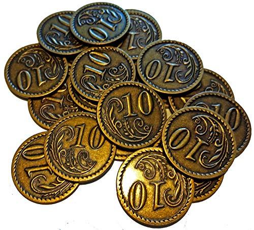 20 Goldmünzen aus Metall - Wert 10 (Designer-münzen-beutel)