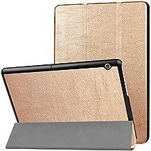 HUAWEI MediaPad T3 10.0 Custodia - Bloomy Shop Custodia Protettiva in Pelle Leggera Ultra Sottile a tre ripiani per Custodia per HUAWEI MediaPad T3 10.0 Tablet (rose gold)