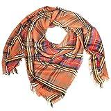 Distressed XXL Damen Oversized Schal Ÿbergro§er Deckenschal Karo Plaid Muster kariert Poncho - orange