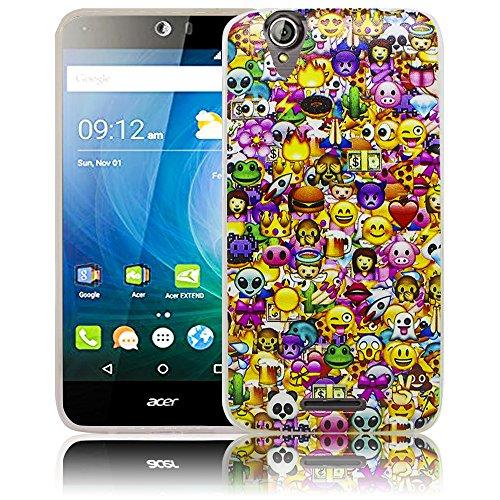 thematys Passend für Acer Liquid Z630 Emoji Smiley Silikon Schutz-Hülle weiche Tasche Cover Case Bumper Etui Flip Smartphone Handy Backcover Schutzhülle Handyhülle