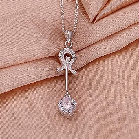 XUHUZI Halskette Die Kette Anhänger Halsbänder Der Kragen Kragen Zirkon Anhänger-Halskette Runde Anhänger Silber Lila Zirkon Violine Halskette, B