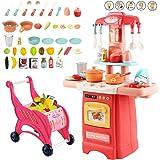 deAO Cucina Mio Piccolo Chef con Caratteristiche di Suoni e Luci Set da Cucina Giocattolo in Miniatura per Bambini con…