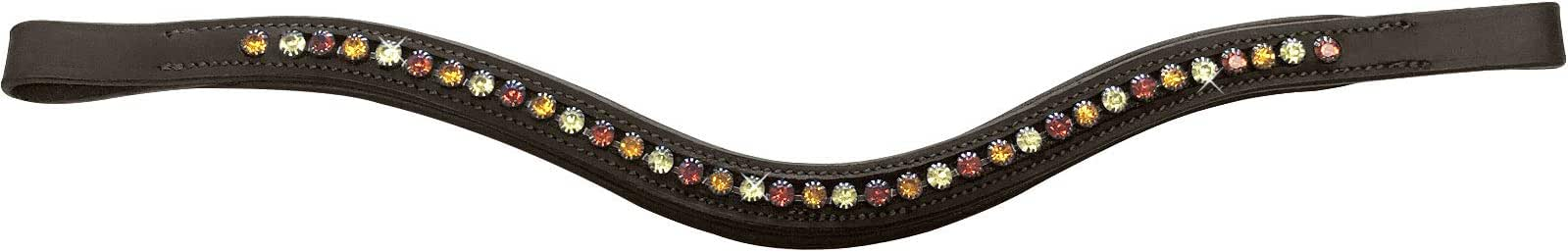 Tigerbox Sparkle Wave Horse Browband with Softy Leather Padding Diamante Crystal Detail