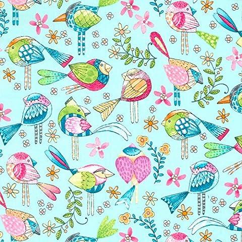 Vogel Stoff–Birds blau–mm542–von 0,5m 50cm x 110cm–von Michael Miller–100% Baumwolle