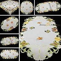 Quinny Shop Primavera Mariposas y Margeriten bordado Camino de mesa Mantel Tamaño a Elegir) aspecto de satén, color blanco, poliéster, Weiß, Rund 20 cm