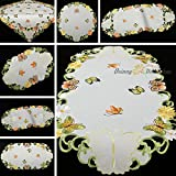 Quinnyshop Frühling Schmetterlinge und Margeriten Stickerei Tischdeckchen 40 cm Rund Satin-Optik, Weiß
