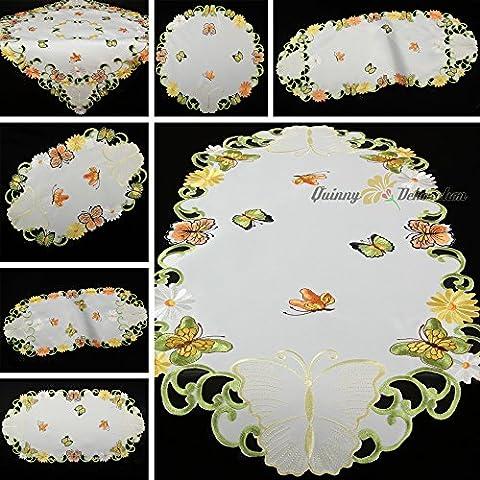Quinnyshop Printemps Papillons et Marguerites Broderie Chemin de table 40 x 90 cm Ovale Optique de satin,