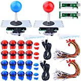 For Raspberry Pi 3 2 model B Retropie, Longruner LED Arcade DIY Parts 2x Zero Delay USB Encoder + 2x 8 Way Joystick + 20x LED Illuminated Push Buttons for Mame Jamma Arcade Project Red + Blue Kits immagine