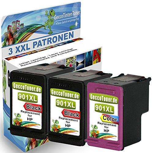 3er Set Druckerpatronen Ersatz für Hp 2x 901 XL schwarz + 1x...