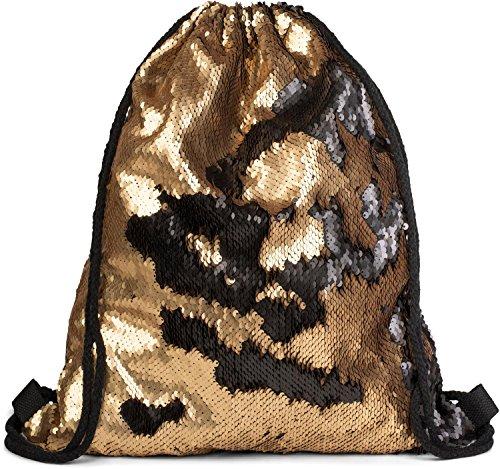 styleBREAKER borsa sportiva hipster con paillettes, zaino, borsa sportiva, bauletto, unisex 02012210, colore:Oro/Nero