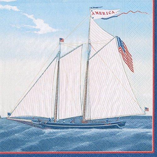 Caspari mit Maritime Papier Cocktail Servietten Luncheon blau (Servietten 3-lagige Blume)