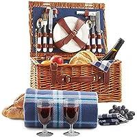 VonShef Cesta de Mimbre Tradicional para Picnic con Cubiertos, Platos, Copas, Vajilla y Manta de Lana De Lujo para 2 Personas