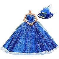 Asiv Premium Hecho Mano Moda Brillante Vestidos de Novia de Princesa Ropa Vestido para Barbie con Sombrero de Plumas Azul