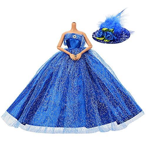 ASIV 1 Pcs Prämie Glänzend Handgefertigte Prinzessin Kleid Brautkleider für Barbie-Puppen mit...