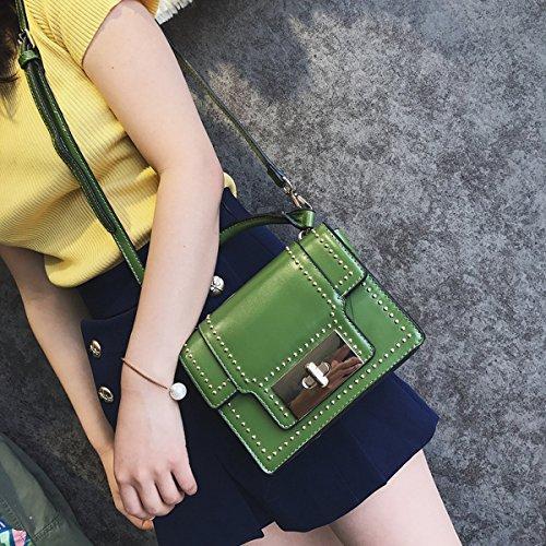 art und Weise Niet kleine quadratische tasche Weibliche Schulter kuriertasche handtasche Dunkelgrün