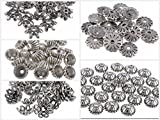 #4: Goelx Antique Silver Flower Bead Caps Combo For Silk Thread Jewellery Making