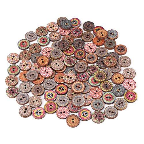 100 Stück Runde Holzknöpfe, Holz Antik Knöpfe, Vintage Unvollendete Holzknöpfe, Gemischte Farbe 2 Löcher Kleine Holzknöpfe zum Nähen Befestigungen Scrapbooking und DIY Craft
