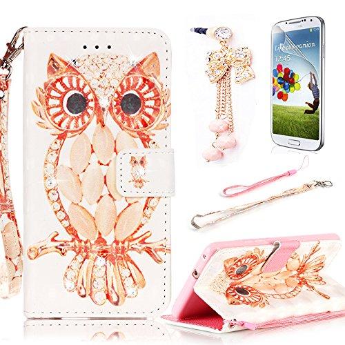 Sunroyal® Cover Samsung J3, Custodia Samsung Galaxy J3 (2015) SM-J300F Portafoglio Wallet Flip Libro Dipinto (Owl Clip Di Carta)