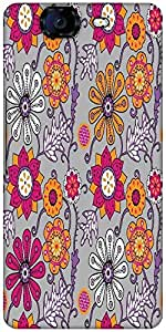 Snoogg Seamless Texture With Flowers And Butterflies Endless Floral Pattern Designer Protective Back Case Cover For Micromax Canvas Knight A350