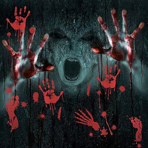 Uddiee 2018 Halloween blutige Handabdrücke Fußabdrücke Fensteraufkleber, Aufkleber für Gruselige Halloween-Dekorationen (8 Blatt) mit 4 Tattoos und Einem Schaber