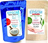 Tea Tree Epsom & Dead Sea Salt Antigungal Antibacteria Foot Soak 1000 g ● Resealable stand-up pouch ●Relaxing Foot Bath ● , SPA and At-Home Care Soaking Pleasure ● A pure, time-tested mineral ● Health, Beauty , Fitness & Wellness by bleumarine Bretania , France (1000g)