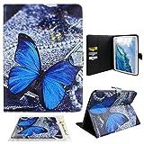 Ledertasche Für Samsung Galaxy Tab4 T530 10.1, Moon mood® PU Leder Schutzhülle für Samsung Galaxy Tab 4 10.1 T530 (10.1 Zoll) mit TPU Rücken Bunte Malerei Standfunktion 3 Karten-Slot Flipcase (Blau Schmetterling)