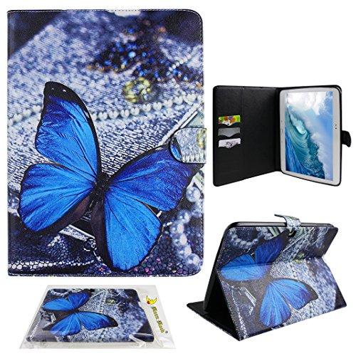Preisvergleich Produktbild Ledertasche Für Samsung Galaxy Tab4 T530 10.1, Moon mood® PU Leder Schutzhülle für Samsung Galaxy Tab 4 10.1 T530 (10.1 Zoll) mit TPU Rücken Bunte Malerei Standfunktion 3 Karten-Slot Flipcase (Blau Schmetterling)