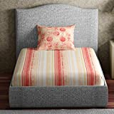Spaces Core  144 TC Cotton Single Bedsheet With Pillow Cover - Red