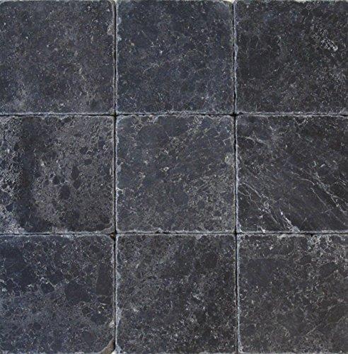 Helle Fliesen (Wohnrausch Marmor Fliese schwarz Marble antik, 50 Stück, 10 x 10 x 1 cm, hell- bis dunkelschwarz, WFB1010)