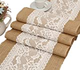 Ein Satz von 12 x 108 Zoll Rustikale Hochzeit Gunsten Sackleinen Tischläufer mit Spitze Drinnen Draußen Hochzeit Dekoration (# 3 Rose)
