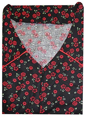 Tobeni Damen Kittelschürze lang mit Reissverschluss und Tasche ohne Arm 100% Baumwolle Farbe Design 35 Grösse 56