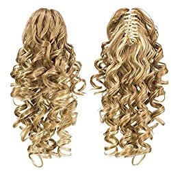 SWACC 12-Inch Short Screw Curls Claw Clip Ponytail Extensions Synthetic Clip in Drawstring Curly Ponytail Hairpiece Jaw Clip Hair Extension (Beige/Blonde Mixed-24H613)