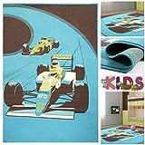 Kinderteppich Spielteppich mit Coolen Rennwagen in Hellblau / Braun | Teppich mit Auto Motiv für Jungen | Kids Teppiche für Jungs fürs Kinderzimmer Jungenzimmer & Spielzimmer, Farbe:Blau;Größe:160x225 cm