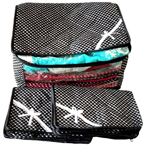 Indi Bargain Luggage Cloth Bag Saree Covers Black 3 Layered Quilted Printed Transparent Cover (upto 10 Sarees Capacity) - Set of 3